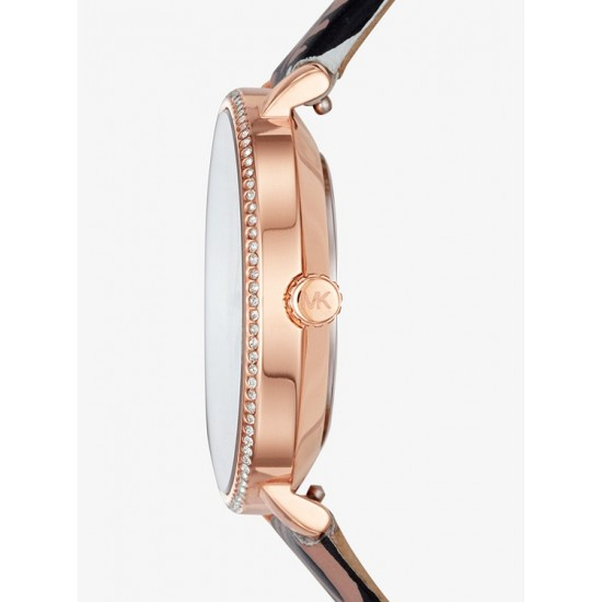 Đông hồ Nữ - Michael Kors Mini Pyper Rose Gold-Tone and Leather Qixi Watch Set