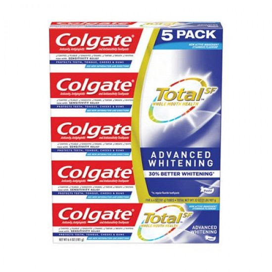 Kem đánh răng -  Colgate Total Advanced Whitening 30% (set 5 tuýp)